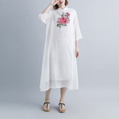 Summer Fake Two-piece Pockets Retro White Dress