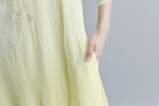 Summer Fake Two-piece Pockets Retro Yellow Dress