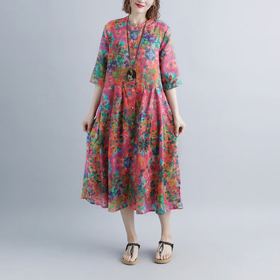 Printed Flax Single Breasted Stand Collar Dress