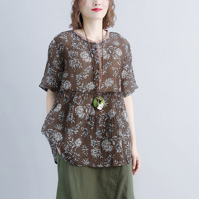 Round Neck Casual Summer Short Sleeve Floral Blouse