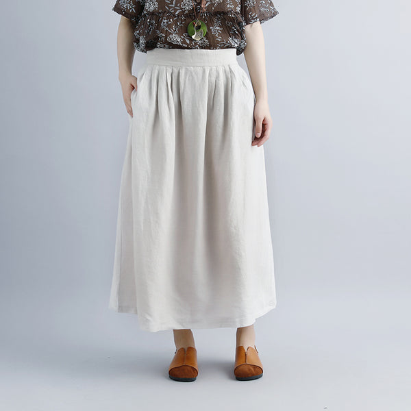 Women Beige Casual Summer Pockets Long Skirts