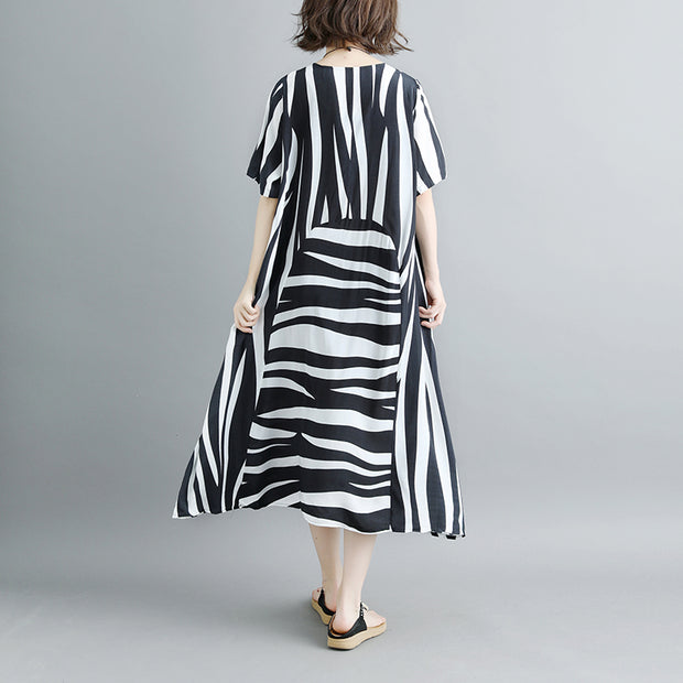 Short Sleeve Summer Stripe  Pockets Casual Dress