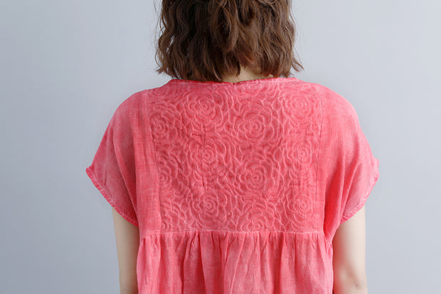 Casual Summer Short Sleeve Pink Boat Neck Blouse