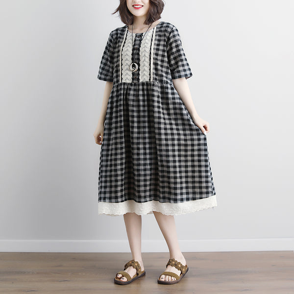 Lacing Short Sleeve Plaid Pockets Retro Casual Gray Dress