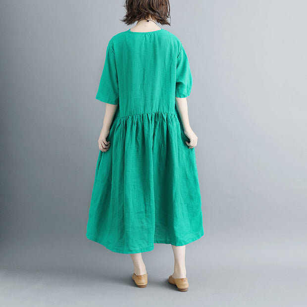 Summer Short Sleeve Green Buttons Pockets Pleated Women Dress