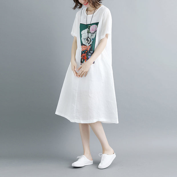 Summer Short Sleeve White Pockets Dress