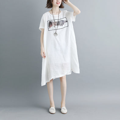 Casual Summer Short Sleeve White Pockets Slit Dress
