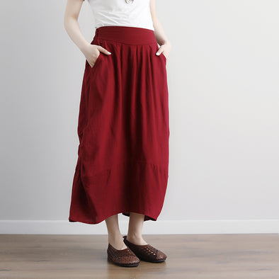Women  Casual Summer Pockets Red Long Skirts