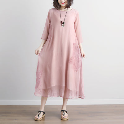 Pink Summer Fake Two-piece Pockets Retro Dress