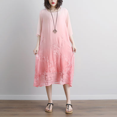 Summer Fake Two-piece Pockets Retro Pink Dress