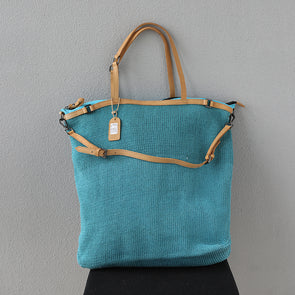 Women Blue Knitted Large Shoulder Bags Travelling Hand Bag
