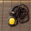 Ethnic Wood Beads Necklace with Beeswax Pendant