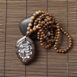 Wood Beads Necklace with Silver Leaf Sweater Pendant