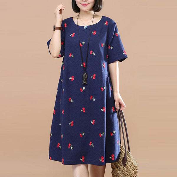 Sweet Cherry Image Round Neck Short sleeve Pleated Women Navy Blue Dress - Buykud