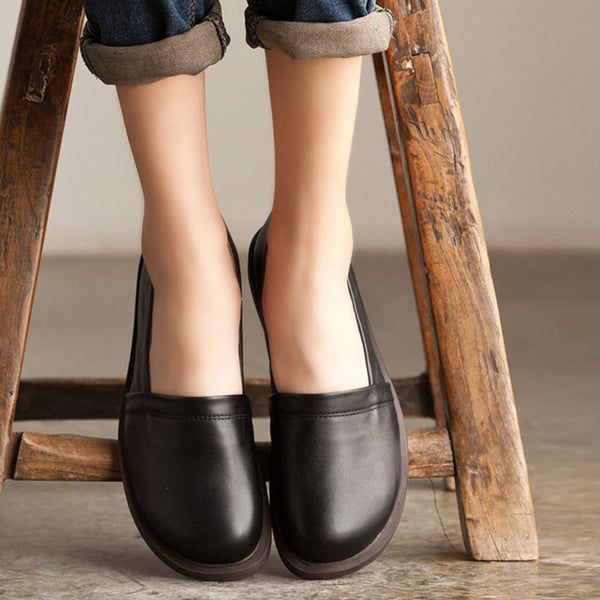 Handmade Genuine Leather Retro Women Black Single Shoes - Buykud
