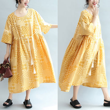 Round Neck Printing Lacing Summer Women Yellow Dress - Buykud