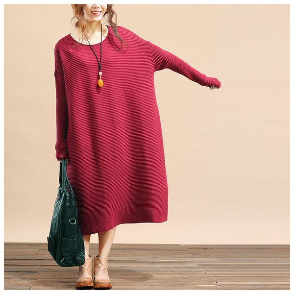 Women plus size loose fitting winter knitting sweater dress - Tkdress  - 5