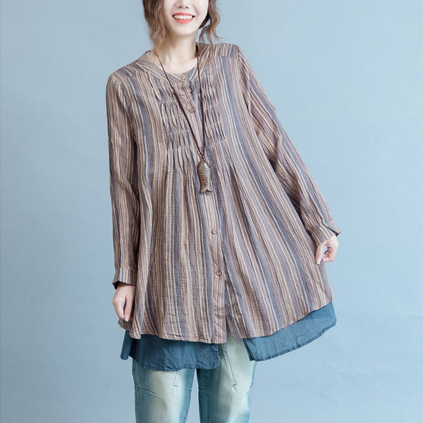 Women cotton linen loose blouse shirt
