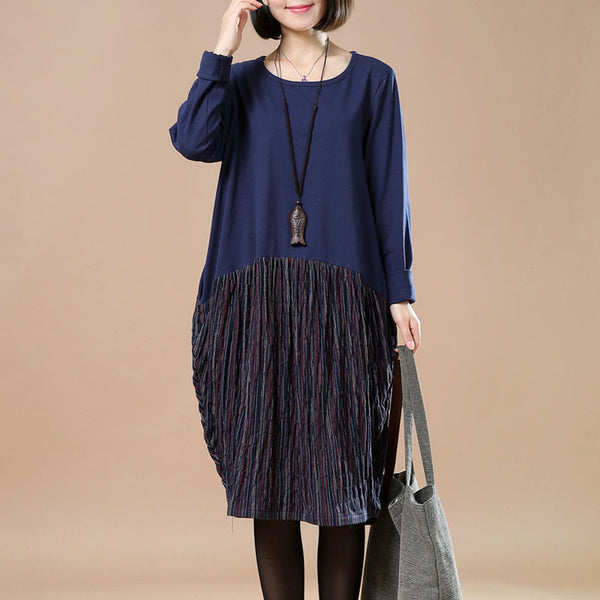 Spring Large Size Casual Loose Round Neck Blue Dress