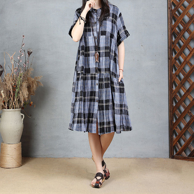 Cotton Summer Women Loose Casual Lattice Navy Blue Dress - Buykud