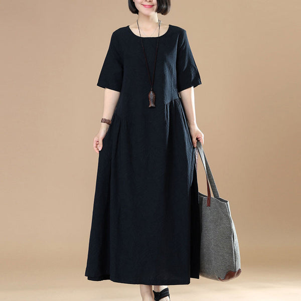 Women Casual Loose Cotton Linen Black Dress