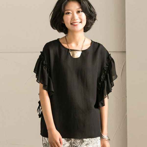 Literature Chic Sleeves Round Neck Straps Loose Women Black Shirt - Buykud