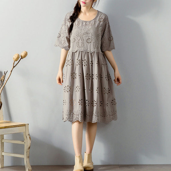 Preppy Hollow Elbow Sleeves Cotton Beige Dress