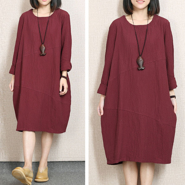 Retro Loose Round Neck Red Dress