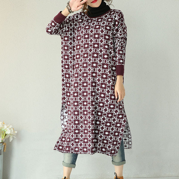 Wine Red long cotton  Knit Dress - Buykud