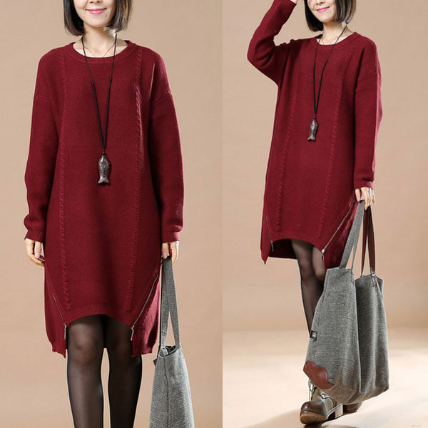 Casual Loose Long Wine Red Sweater