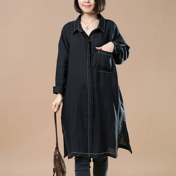 Cotton And Linen Retro Casual Black Shirt