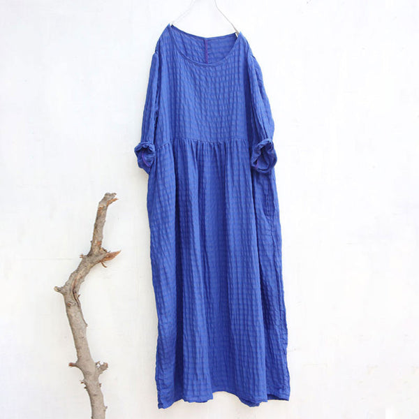 Stripe Literature Splicing Long Sleeves Pleated Women Blue Dress - Buykud