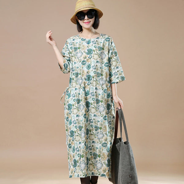 Round Neck Loose Casual Printing Yellow Dress - Buykud