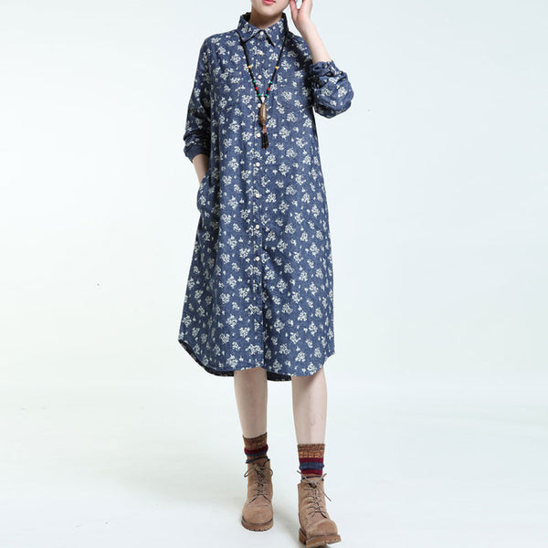 Spring Printing Blue Long Sleeves Dress