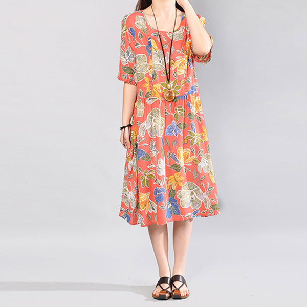 Printing Loose Round Neck Short Sleeve Women Pink Dress