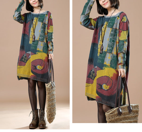Green Print retro long sleeve dress