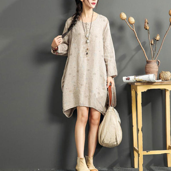 Cotton Linen Loose Light Coffee Shirts dress