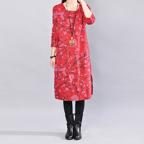 Casual Loose Printing Round Neck Long Sleeves Red Dress - Buykud