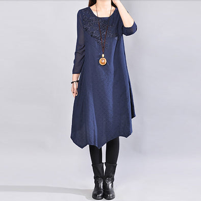 Women Navy Blue Retro Three Quarter Sleeve Patchwork Embroidery Dress - Buykud