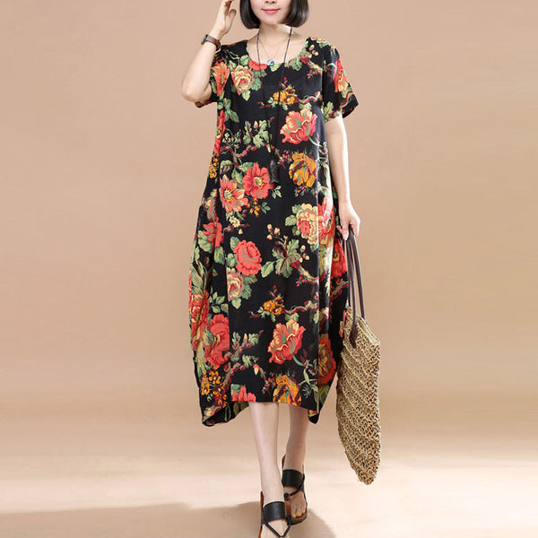 Retro Floral Printing Short Sleeve Pocket Loose Women Summer Black And Red Dress - Buykud
