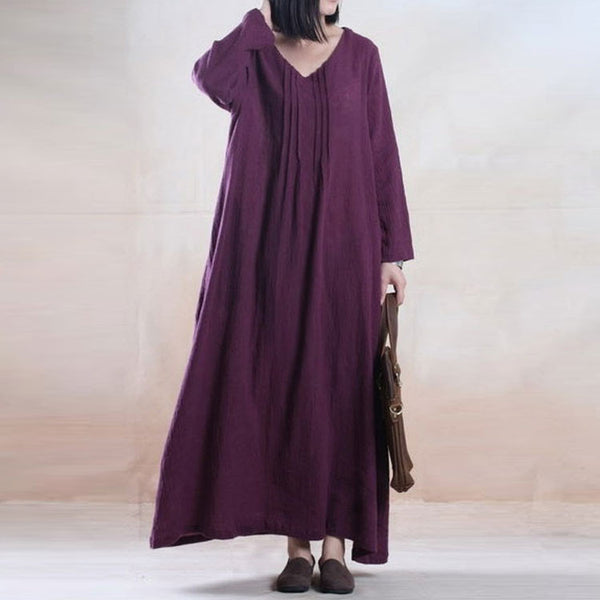 Casual Loose Cotton Linen Dress - Buykud