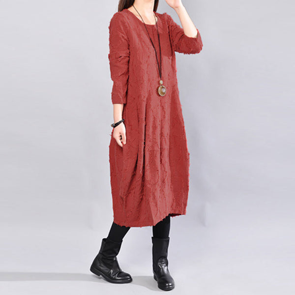 Autumn Distressed Long Sleeve Women Red Dress - Buykud