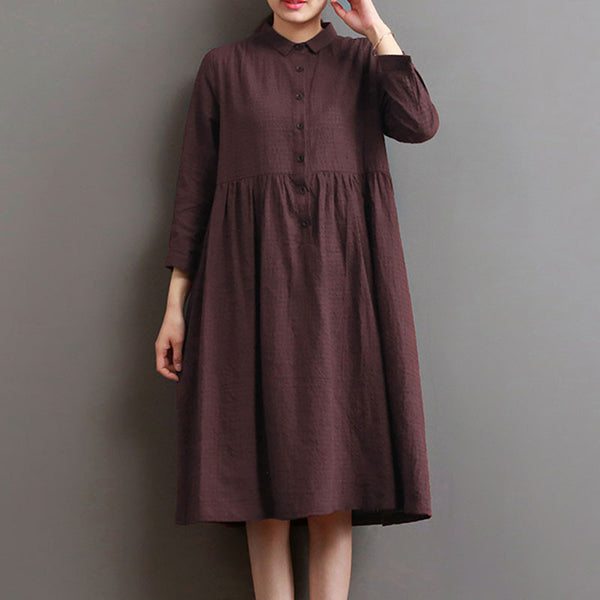 Women Lattice Casual Cotton Linen Loose Red Dress - Buykud