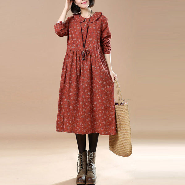 Linen Floral Long Sleeves Orange Dress