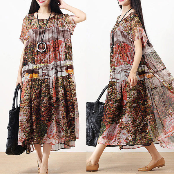 Women Summer Short Sleeve Casual Loose Pleated Printing Dress - Buykud