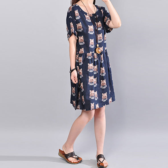 Stylish Printing Wolf Image Short Sleeve Back Strap Women Navy Blue Dress - Buykud