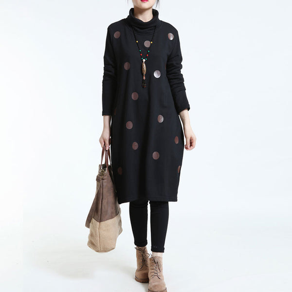 Loose Dot Turtleneck Black Large Size Dress
