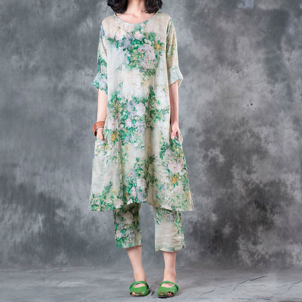 Summer Women Printing Round Neck Green Suits(Dress+Pants) Sell Seperately - Buykud