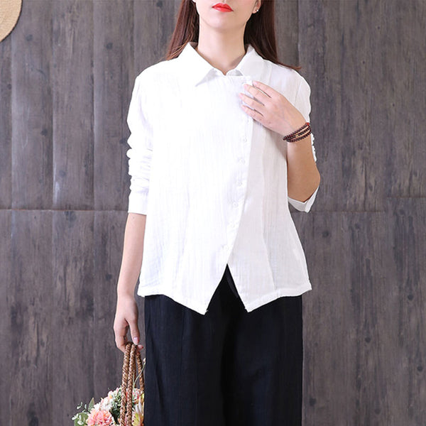 Single Breasted Polo Collar Casual Women White Shirt