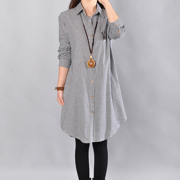 Stripe Women Cotton Gray Long Shirt